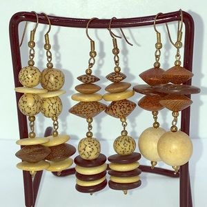 3/$20 SALE Three Pair of Wood Bead Dangle Earrings